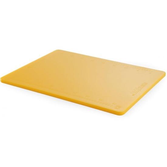 Deska do krojenia HACCP z miarką Perfect Cut żółta - Hendi 826454