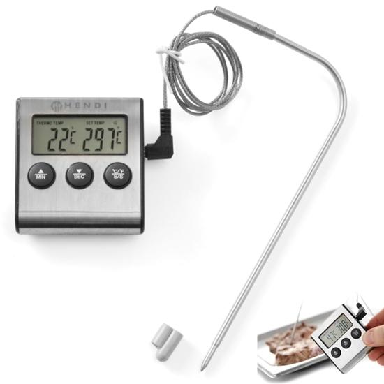 Termometr gastronomiczny do pieczenia z sondą i funkcją timera - Hendi 271346