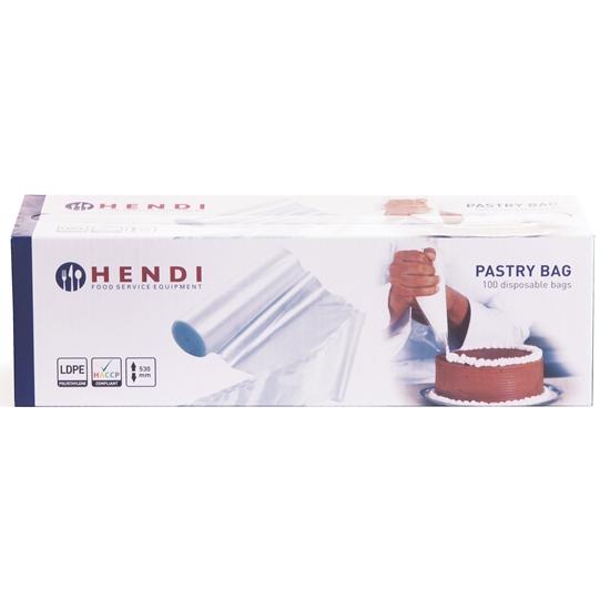 Jednorazowe foliowe woreczki rożki cukiernicze do szprycowania i ozdabiania 100 szt. 80µm - Hendi 557112