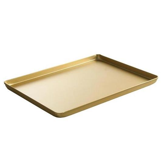 Taca cukiernicza piekarnicza ekspozycyjna z aluminium 400x300x20mm złota - Hendi 808566