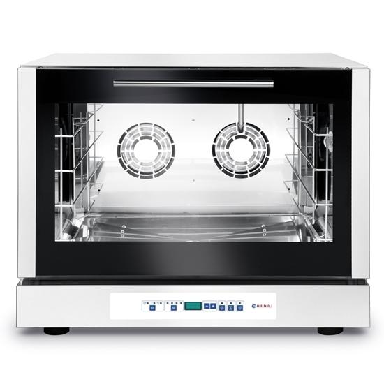 Piec konwekcyjny piekarniczy z nawilżaniem 4 blachy 60x40cm programowalny 6400W 400V - Hendi 225059