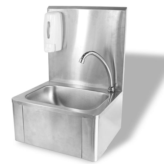 Umywalka zlewozmywak do rąk bezdotykowy kolanowy ze stali nierdzewnej - Hendi 810309