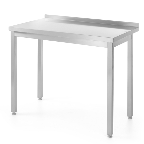 Stół blat roboczy do kuchni stalowy przyścienny z rantem 140x60 cm - Hendi 811269
