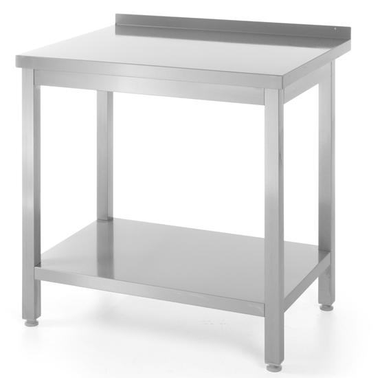 Stół blat roboczy do kuchni stalowy przyścienny z rantem i półką 80x60cm - Hendi 811450