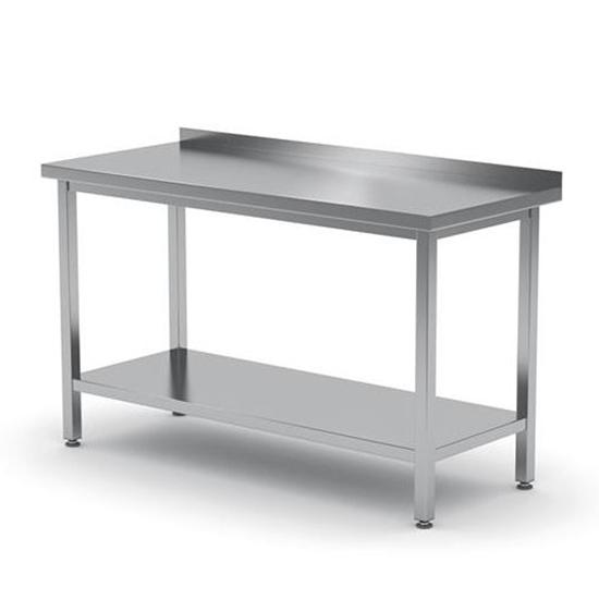 Stół blat roboczy do kuchni stalowy przyścienny z rantem i pólką 160x60cm - Hendi 811498