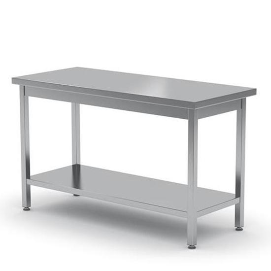 Stół blat roboczy do kuchni centralny stalowy z półką 140x60cm - Hendi 811535