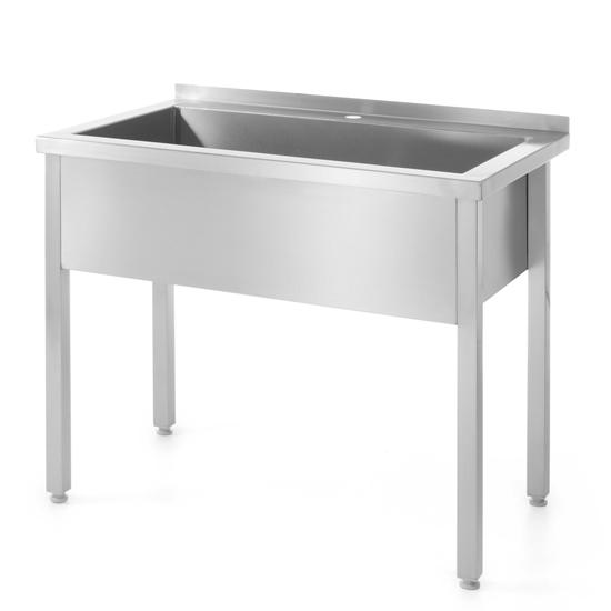 Stół z basenem ze zlewem jednokomorowym stalowy do kuchni 80x60cm - Hendi 811825