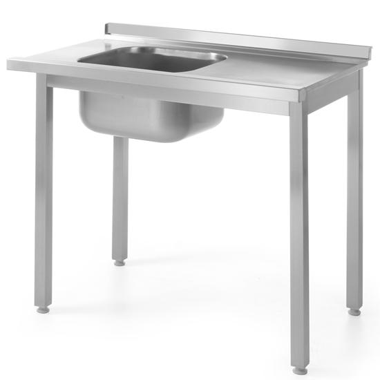 Stół załadowczy ze zlewem do zmywarki stalowy 100x60cm LEWY  - Hendi 811917