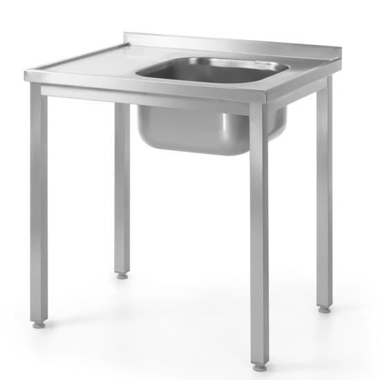 Stół blat roboczy do kuchni stalowy ze zlewem 100x60cm PRAWY - Hendi 811573
