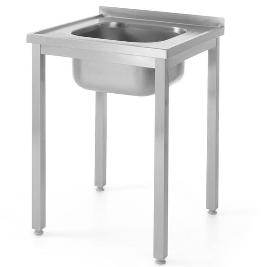 Stół blat roboczy stalowy z jednym zlewem 600x600mm - Hendi 811849