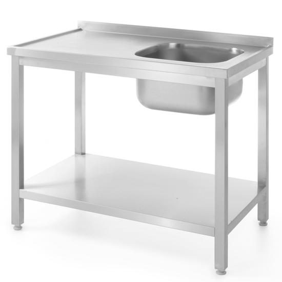 Stół blat roboczy stalowy do zmywalni z jednym zlewem z półką 80x60cm PRAWY - Hendi 811863
