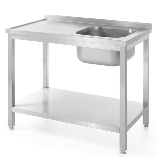 Stół blat roboczy stalowy do zmywalni z jednym zlewem z półką 100x60cm PRAWY - Hendi 811870
