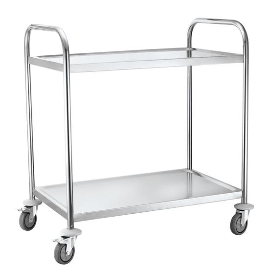 Wózek kelnerski 2-półkowy ze stali nierdzewnej do 100Kg - Hendi 810002