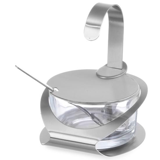 Cukiernica ze szkła i stali nierdzewnej z łyżeczką śr. 130mm wys. 90mm - Hendi 465370