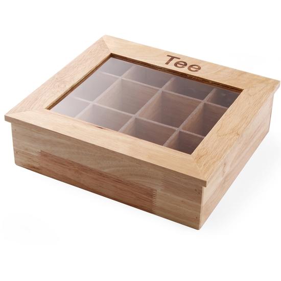 Ekspozytor pudełko na herbatę drewniane 30x28cm - Hendi 456514