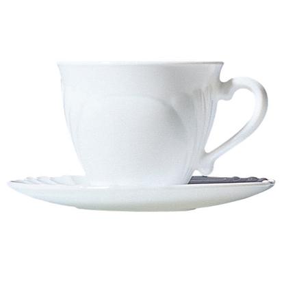 Filiżanka i spodek do kawy i herbaty z trwałego materiału opal CADIX 220ml zestaw 6szt. - Hendi 37784