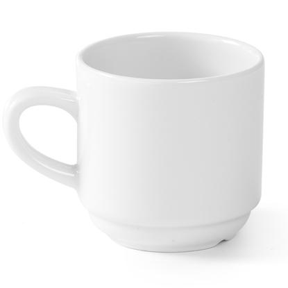 Filiżanka do kawy i herbaty hotelowa OPTIMA biała porcelana 230ml zestaw 12szt. - Hendi 770962