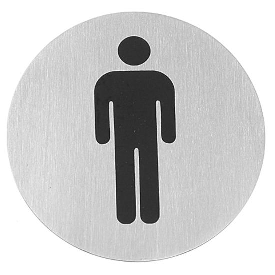 Tabliczka informacyjna samoprzylepna na drzwi WC MEN stal nierdzewna śr. 75mm - Hendi 663608