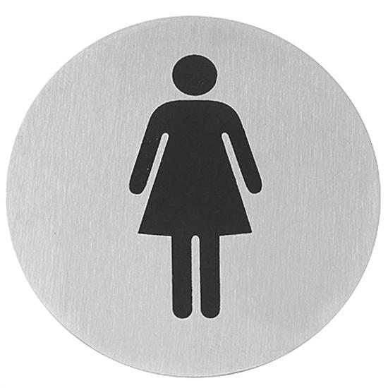 Tabliczka informacyjna samoprzylepna na drzwi WC WOMEN stal nierdzewna śr. 75mm - Hendi 663615