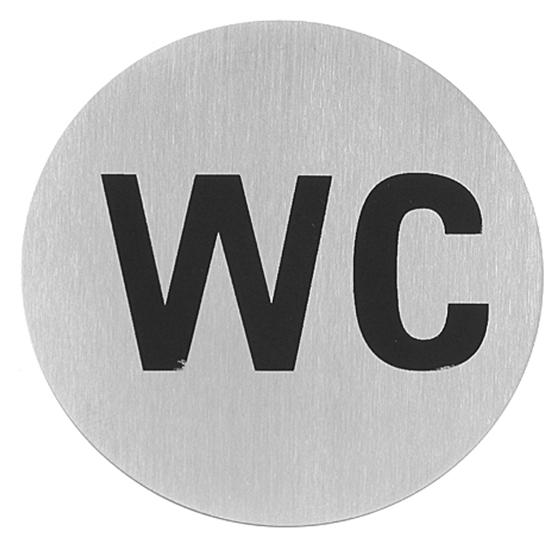 Tabliczka informacyjna samoprzylepna na drzwi WC stal nierdzewna śr. 75mm - Hendi 663622