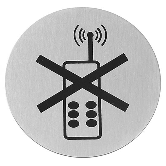 Tabliczka informacyjna samoprzylepna ZAKAZ UŻYWANIA TELEFONÓW stal nierdzewna śr. 75mm - Hendi 663653