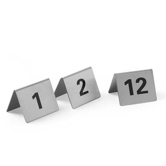 Tabliczka informacyjna NUMER STOLIKA 1-12 stal nierdzewna zestaw 12szt. - Hendi 663844