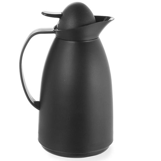 Termos ze szklanym wkładem do kawy i herbaty czarny poj. 1L - Hendi 449608