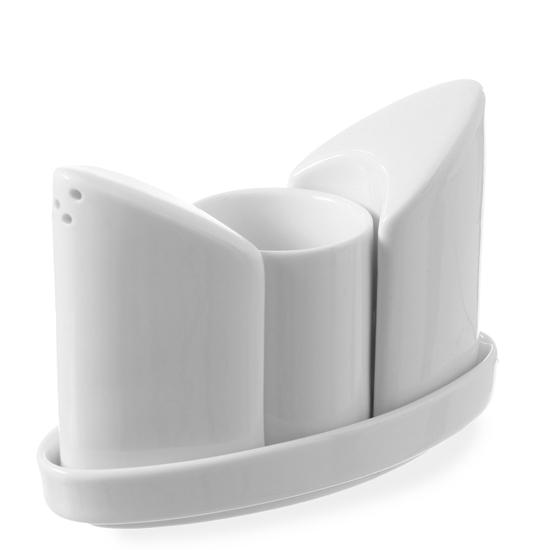 Zestaw do przypraw solniczka pieprzniczka wykałaczki biała porcelana - Hendi 786420