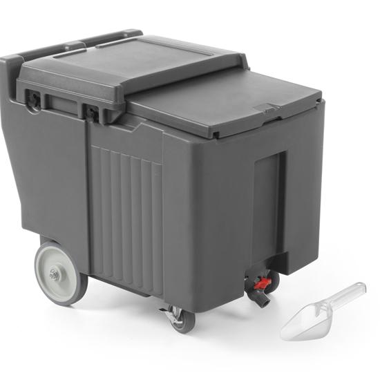 Pojemnik termoizolacyjny termos do transportu lodu mobilny na kółkach poj. 110L