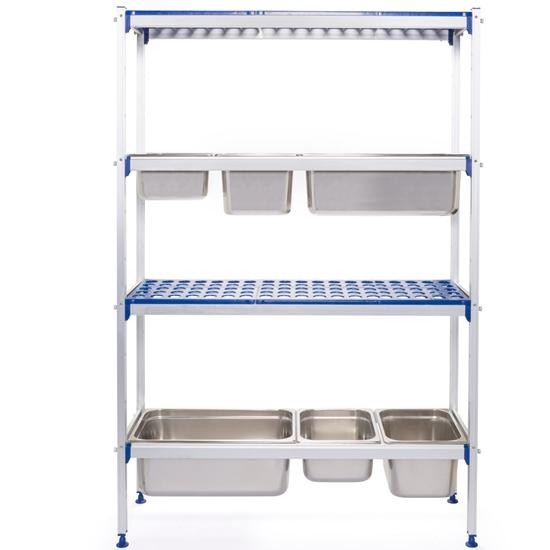 Regał magazynowy gastronomiczny do kuchni aluminiowy na pojemniki GN1/1 szer. 112cm
