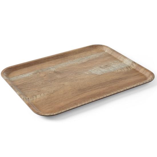Taca tacka do serwowania z nadrukiem drewna dąb 370x530mm Hendi 508947