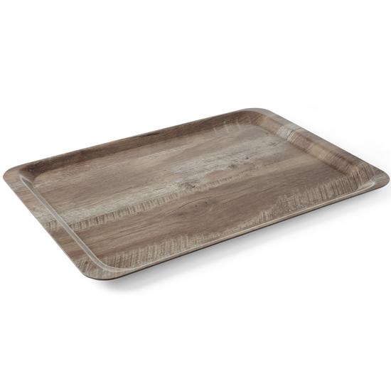 Taca tacka do serwowania z nadrukiem drewna ciemny dąb 370x530mm Hendi 508954