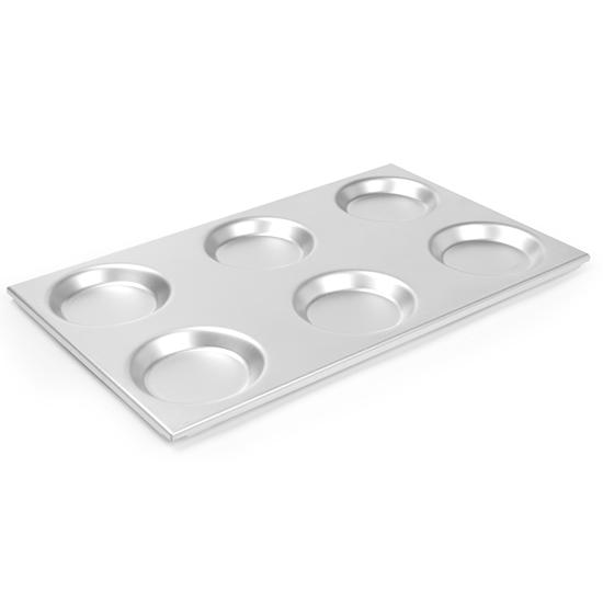 Taca aluminiowa GN 1/1 z formami okręgami 125mm 530x325mm Hendi 808740