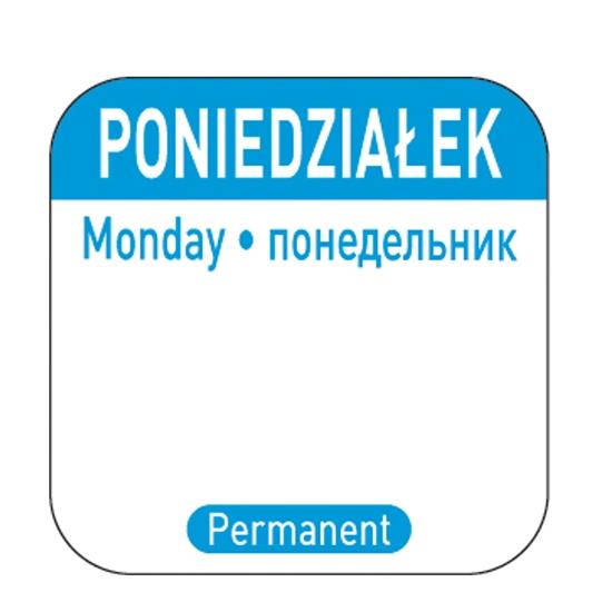 Naklejki food safety na pojemniki wielokrotnego użytku Poniedziałek PL RU EN 1000 szt. Hendi 850077