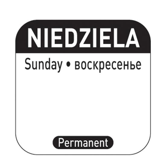 Naklejki food safety na pojemniki wielokrotnego użytku Niedziela PL RU EN 1000 szt. Hendi 850138
