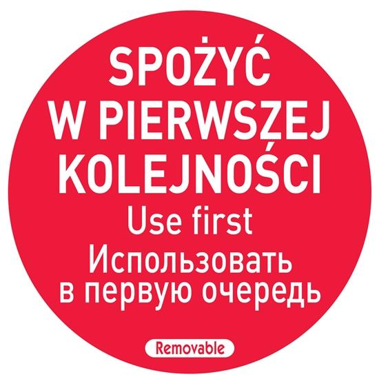 Naklejki food safety spożyć w pierwszej kolejności PL RU EN 500 szt. Hendi 850152