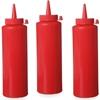 Dyspenser butelka do zimnych sosów zestaw 3szt. - czerwony 0.2L - HENDI 558041
