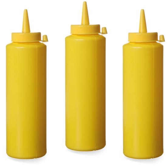 Dyspenser butelka do zimnych sosów zestaw 3szt. - żółty 0.7L - HENDI 557938