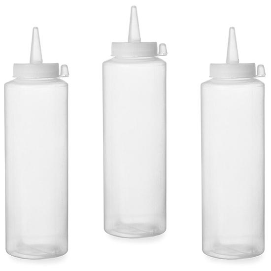 Dyspenser butelka do zimnych sosów zestaw 3szt. - przeźroczysty 0.7L - HENDI 557952