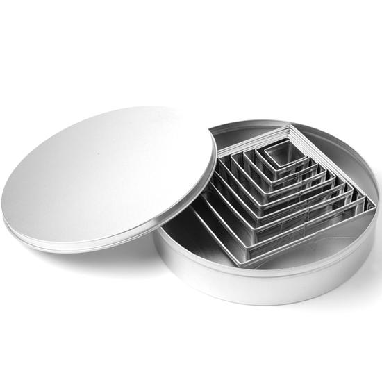 Forma wycinarka cukiernicza do ciasta szablon KWADRATY - ZESTAW 9szt.  - HENDI 673751