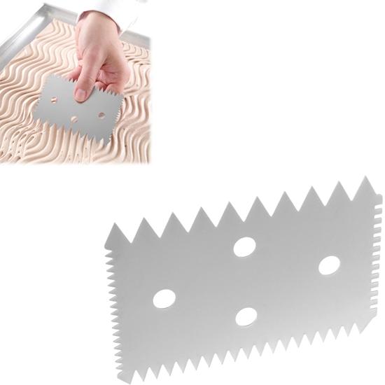 Skrobka cukiernicza prostokątna ZĄBKOWANA ze stali nierdzewnej 102x69mm - HENDI 554234