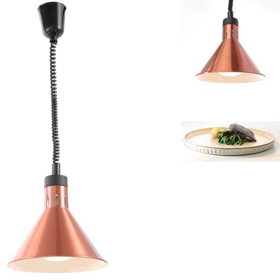 Lampa do podgrzewania potraw - wisząca stożkowa miedziana 250W