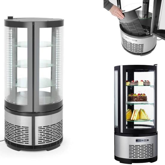 Witryna chłodnicza cukiernicza okrągła 3 półki LED 100L