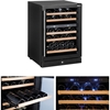 Lodówka na wino do chłodzenia wina 2 strefy 5 półek 44 butelki LED 155L