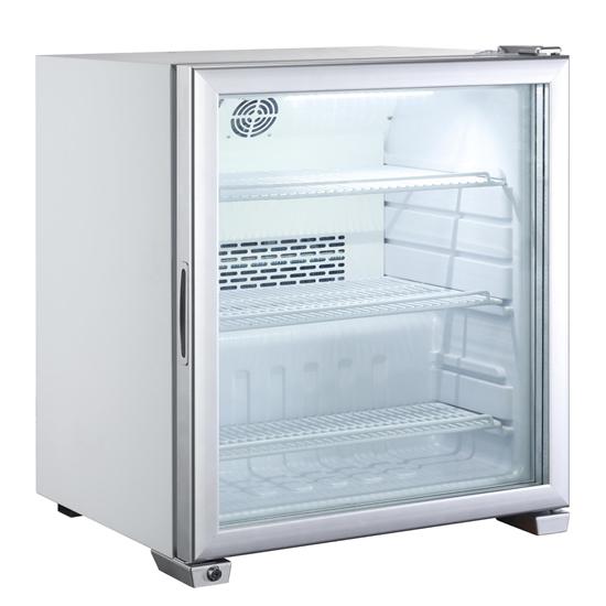 Witryna zamrażarka szklane drzwiczki 3 półki do -18C LED 90L
