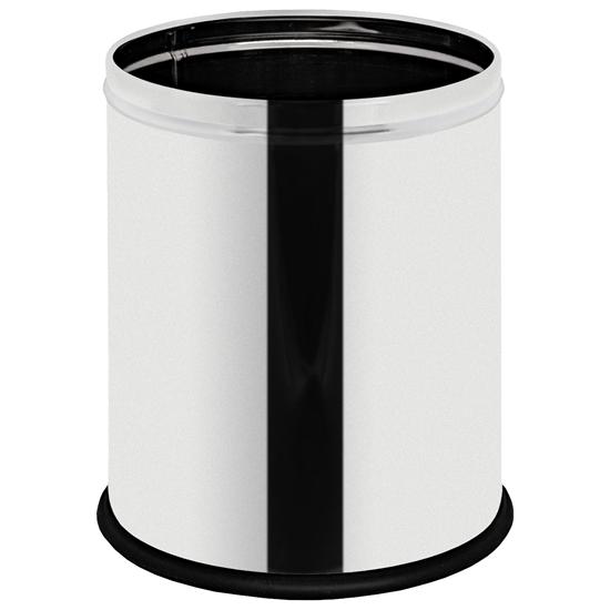 Kosz na śmieci stalowy nierdzewny na gumowej podstawie 18L