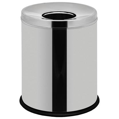 Kosz na śmieci stalowy nierdzewny z pokrywką na gumowej podstawie 7L