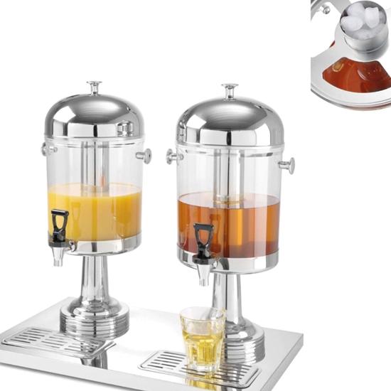 Dyspenser dozownik do soków napojów chłodzony podwójny 2 x 8L