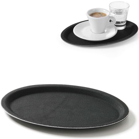 Taca kelnerska antypoślizgowa owalna 20x26.5cm - czarna