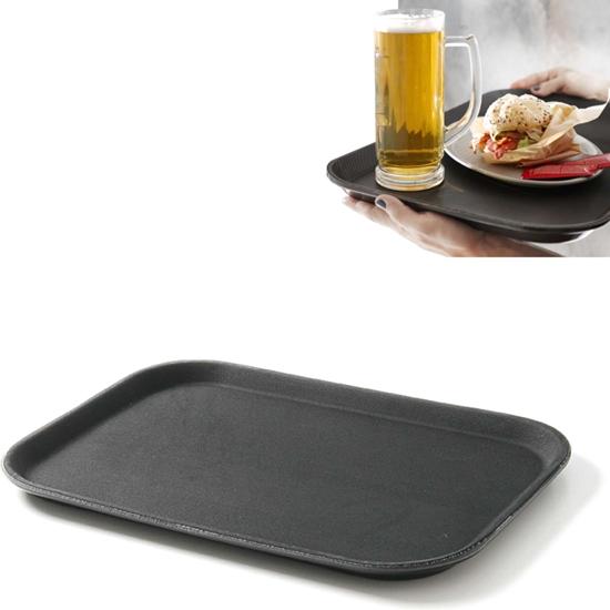 Taca kelnerska antypoślizgowa odporna 25.5x35.5cm - czarna